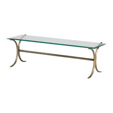 Glass TV Stand With Curved Wrought Iron Base