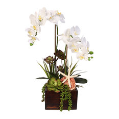 White Real Touch Phalaenopsis Orchid, Succulents and Seashells in Wooden Planter
