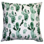 "Pillow Decor - Pillow Decor Cactus Garden Throw Pillow, 20""x20"" - There is nothing prickly about the Cactus Garden Throw Pillow despite the name. A collage of cacti will make this pillow a fun center piece on a bed, chair or window seat."