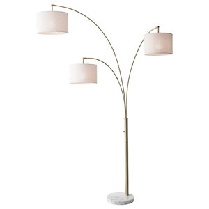Reeler Floor Lamp Brushed Steel Finish Transitional