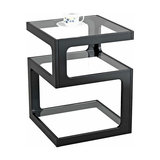 Modern Side Table With Wooden Frame and Clear Tempered Glass Top