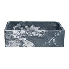 "33"" Farmhouse Kitchen Sink, Single Bowl, Reversible, Black Glacier Quartz"