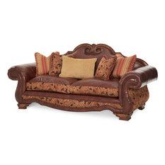 AICO Tuscano Leather and Fabric High Back Sofa, Brick