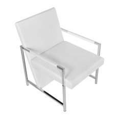 vidaXL Cube Relax Armchair with Chrome Feet Artificial Leather White Lounger