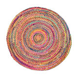 Rainbow Braided Round Rug, Extra Large
