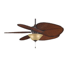 """Islander 52"""" Ceiling Fan, Rust, Wide Oval Bamboo Blades and Amber Bowl"""