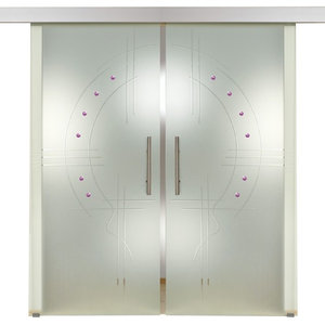 "Opaque 2 Leaf European Sliding Glass Barn Doors, 60""x84"""