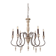 Farmhouse Rustic Wooden Candle Chandelier With Drops