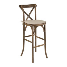 Offex Dark Antique Wood Cross Back Barstool With Cushion