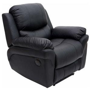Modern Recliner in Bonded Leather, Black