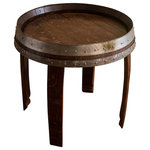 """Alpine Wine Design - Banded Wine Barrel Side Table, 22"""" - Handcrafted from a recycled Napa wine barrel, our end table lends rustic beauty to any living space.  We've finished the oak surface to georgous a sheen with multiple layers of cabinet-grade lacquer and included the original metal barrel bands for interest.   Measures approximately 24"""" in diameter and 24"""" tall.  Artisan crafted in Colorado."""