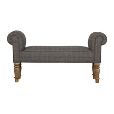 Bench With Multi Tweed Turned Legs, Oak Finish Mango Wood