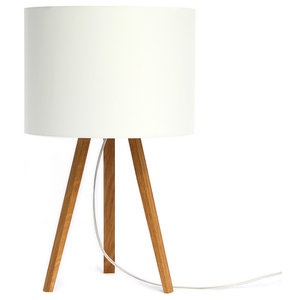 Short Luca Stand Table Lamp, Oak and White Lampshade