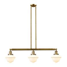 Oxford 3-Light LED Island Light, Brushed Brass, Glass: White Cased