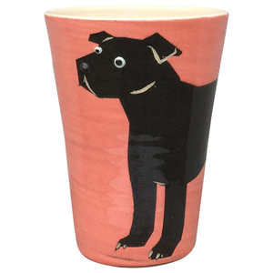 Red Animal Cups, Staffy, Set of 2