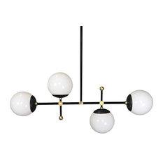"Horizontal Deko Globe Chandelier, 35"", Black, Brass Sphere"