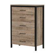 5-Drawer Chest, Weathered Oak Finish