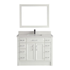 Studio Bathe   42u0027u0027 Calais Vanity Set, White And Solid Surface Marble