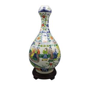 Chinese Vase Garlic Shaped Famile Vert