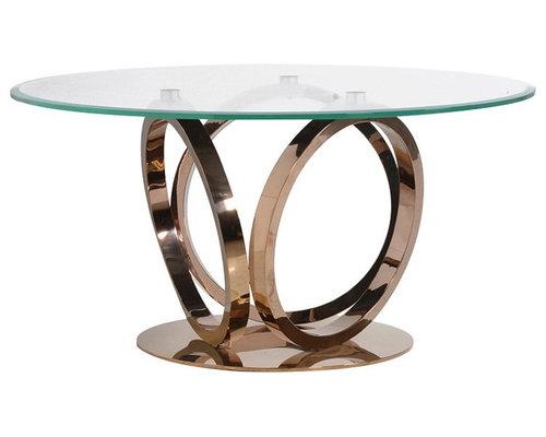 ローズゴールド&ガラストップラウンドダイニングテーブル - キッチン・ダイニング家具