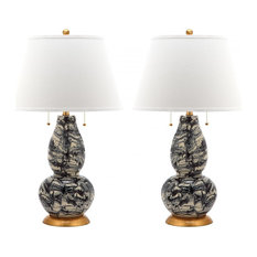 Color Swirls Glass Table Lamp ZMT-LIT4159B (Set of 2) - Black & White
