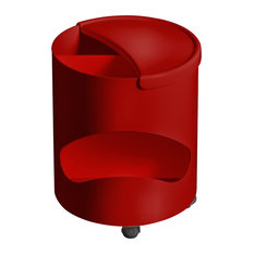 Robo Side Table With Storage by Joe Colombo, Red