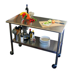 Beyond Furniture - 2u00274u0027 Stainless Steel Top Kitchen Prep Table With Locking  Casters