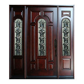 "Exterior Front Entry Wood Door M280A 1D+2SL 18""-36""x80"", Left Hand Swing In"