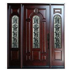 """Exterior Front Entry Wood Door M280A 1D+2SL 18""""-36""""x80"""", Left Hand Swing In"""