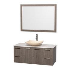 "Amare 48"" Vanity, 46"" Mirror, Gray Oak, White Stone, Arista Ivory Marble"
