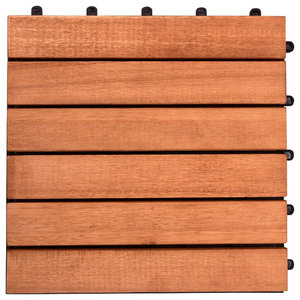 Outdoor 6-Slat Eucalyptus Interlocking Deck Tiles, Set of 10