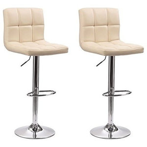 Consigned Set of 2 Bar Stools, Faux Leather, Adjustable Swivel Gas Lift, Cream