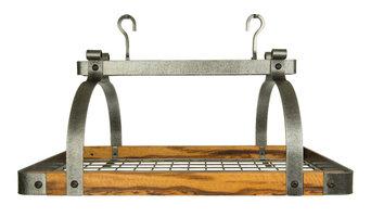 Signature Tiger wood and Hammered steel pot racks