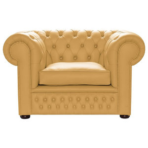 Leather Chesterfield Club Chair, Sand