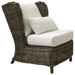 Padma's Plantation - Majorca Lounge Chair, Kubu - Create a resort feel in your home or sunroom with our? newest Kubu Lounge chair. It features a comfortable wing-back wicker construction in a washed-out Kubu finish that complements a Beach or shabby-chic design, as well as many others.