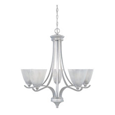 Matte Pewter and French Swirl Alabaster Glass 5-Light Chandelier