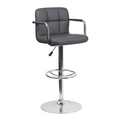 Contemporary Quilted Vinyl Adjustable H Barstool With Arms And Chrome Base