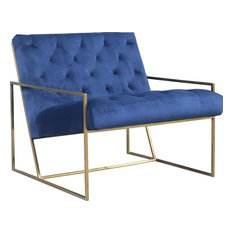 DOVETAIL HENSLEY Occasional Chair Brass Blue Metal Polyester