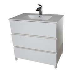 "Samba 32"" Standing Bathroom Vanity Cabinet Set With Single Sink, White"