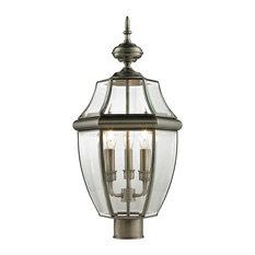 Cornerstone Ashford 3 Light Exterior Post Lantern, Antique Nickel