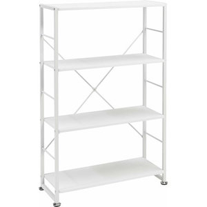 Display Storage Unit, MDF With Metal Frame and 3 Open Shelves, White Woodgrain