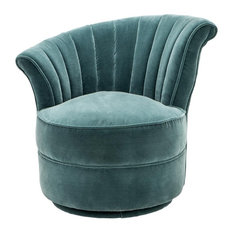 "Oroa - Eichholtz Furniture - Swivel Chair, Eichholtz Aero, L, Green, 22""x26""x29"" - Armchairs and Accent Chairs"