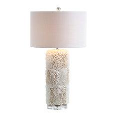 """Rosette Seashell, Resin, Crystal LED Table Lamp, Cream, 28.5"""""""