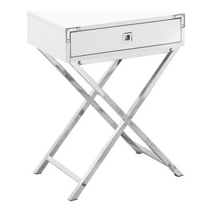 Monarch MDF and Metal Accent Table, White Finish Monarch