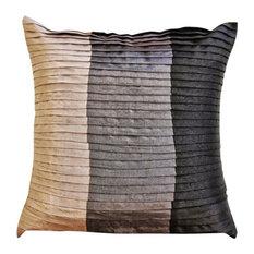 Black Color Block & Pintucks 65x65 Silk Euro Pillowcase, Dark Secret