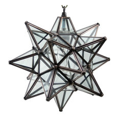 "Moravian Star Pendant Light, Clear Glass, Bronze Frame, 12"""