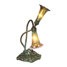 Dale Tiffany 2-Light Gold Lily Accent Lamp, Antique Bronze/Verde