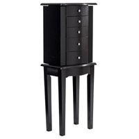 Elegant Wood Mirrored Jewelry Storage Chest Cabinet