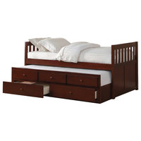 Axis Twin Over Twin Trundle Bed With Two Storage Drawers, Dark Cherry