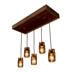 Mason Jar Chandelier With Reclaimed Wood and 5 Pendants